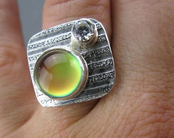 Mood Ring, Sterling Silver and CZ, handmade, size 6.5