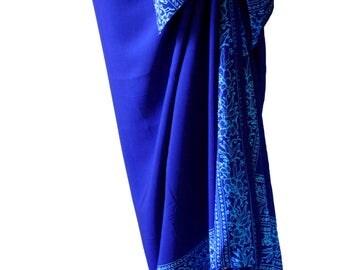 PLUS SIZE Clothing Sarong Skirt ~ Cobalt Blue & Turquoise Skirt or Dress - Womens Extra Long Beach Sarong - Plus Size Swimwear - Batik Pareo