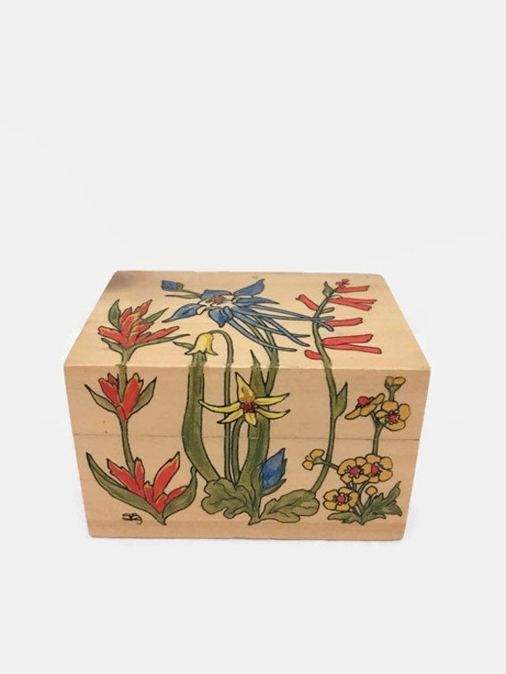 Small Wooden Jewelry or Stash Box with Art Nouveau Flowers - 1970s - Aspen Wood - Handpainted