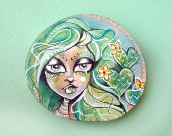 Green Hair Cactus succulent Flower Girl original art on birch wood slice