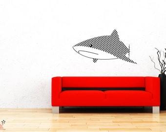 Lines Art Shark Wall Decal