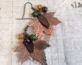 CLEARANCE SALE Layered Leaf Earrings, Garnet Red, Green, Yellow