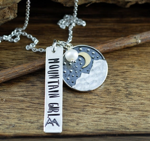 Hand Stamped Mountain Necklace, Mountain Girl Necklace, Personalized Necklace, Outdoor Necklace, Mountain Range Jewelry, GIft for Hiker