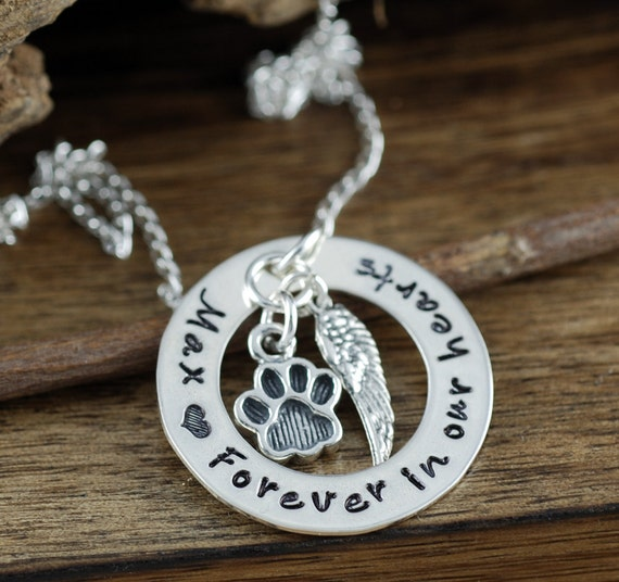 Personalized Pet Memorial Necklace, Forever in our Hearts, Hand Stamped Memorial, Pet Remembrance Jewelry, Loss of Pet Jewelry, Dog Mom Gift
