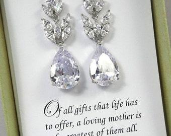 Clear Crystal Earrings, Mother of the Bride Gift Earrings, Mother of the Groom Gift, Gift for Mom, Clear Crystal Wedding Earrings