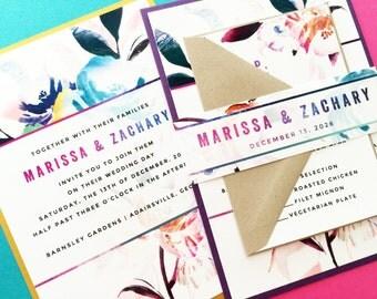 Wedding Invitation, Watercolor Floral Wedding Invite, Watercolour Floral Wedding Invitation Suite Set, Wedding Invitations