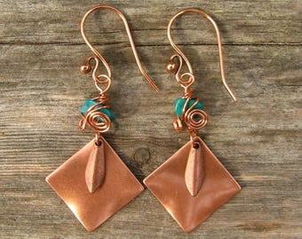 Southwest Fiesta Copper Dangle and Turquoise Chip Earrings 6
