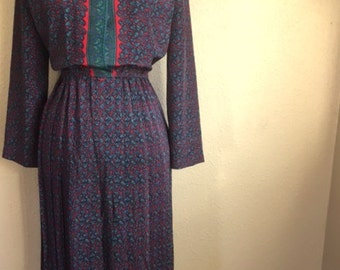 Vintage RED and Blue PAISLEY Dress / 1980s Leslie Fay Long Sleeve Dress  / Womens Large - Extra Lage