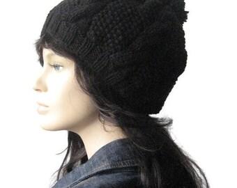 Black Cable and Seed Stitch Knit Hat with Pom Pom, Knit Pom Beanie, Vegan Knits, Knitwear, Black Slouchy Beanie Hat, Pom Pom Beanie