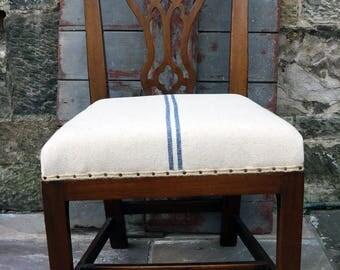 Vintage occasional bedroom chair in grain sack linen upholstery