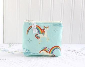 Small Rainbow Unicorns Coin Purse Blue Change Purse Card Holder Zipper Pouch