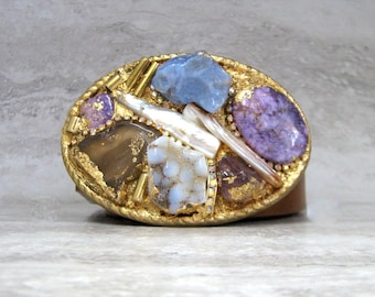 Belt Buckle in Purples-Amethyst & Gold Buckle with Semi Precious Gemstones Gilded One of a Kind  Romantic Buckle by Sharona Nissan (4072)
