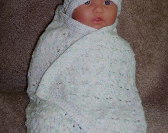 Custom Handmade knit White baby print blanket wrap, hat, booties set Layette  Baby shower gift ,Coming home dressing 0-12M Ready to Ship