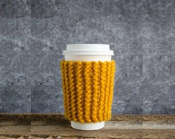Coffee Cozy, Mustard Yellow, Coffee Mug Cozy, Chunky Knit Coffee Sleeve, Cup Cozy, Coffee Cup Cozy, Coffee Cup Sleeve, Honey Wedding Favors