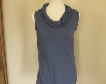 Sale Ready to Ship Light Blue Womens Cowl Neck Tank top Shirt Jersey Knit Cotton Clothing Tank top Made in the USA