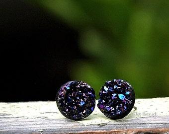 Royal Black Stud Earrings with Titanium Posts, 12mm, Blue-Purple-Black Faux Druzy