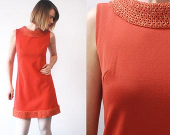 60s mini dress. Space Age dress. burnt orange shift dress - small to medium