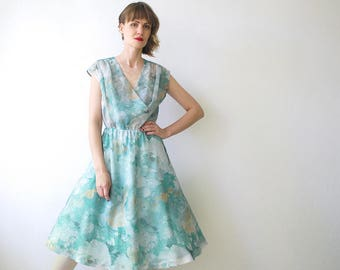 70s does 50s full circle dress. pastel seafoam green chiffon dress. floral midi dress - large
