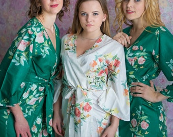 Premium Emerald Green Bridesmaids Robes - Dreamy Angel Song Pattern - Soft Rayon Fabric - Better Design - Perfect as getting ready robes