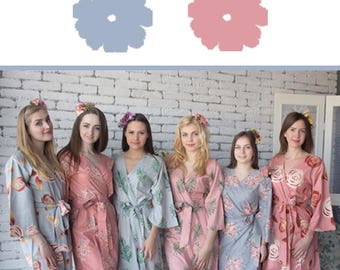 Gray and Dusty Rose Wedding Color Bridesmaids Robes - Premium Rayon Fabric - Wider Belt and Lapels - Wider Kimono sleeves