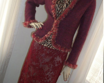 Vintage Garnet Red Wool Mohair Cardigan Sweater Ruby Rabbit Fur Trim Unique Size M Made in Italy