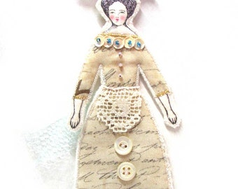 Fun Lady Flat Doll Ornament With A Bird Handmade Fabric Doll Decoration Embellished  Textile Art Doll Fabric Ornament