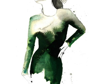 Vintage Green, print from original watercolor and mixed media fashion illustration by Jessica Durrant