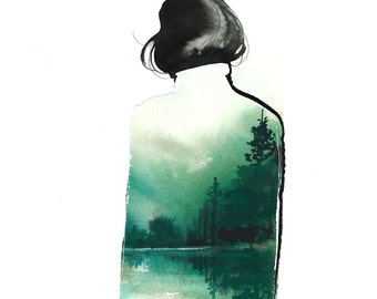 Mountain Coat, print from original collage watercolor fashion illustration by Jessica Durrant