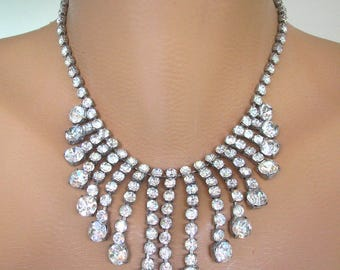 Crystal Choker, Waterfall Necklace, Crystal Statement Necklace, Gatsby Jewelry, Rhinestone Bib, Vintage Collar, Bridal Choker, Art Deco