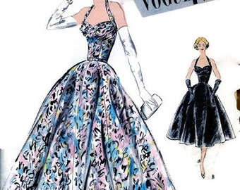 RARE * 1950's Vogue Special Design Pattern S-4751 * GORGEOUS  Halter Top Evening Dress Ball Gown  * Uncut * Bust 32