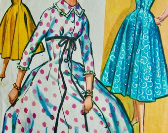 """Vintage 1950s McCalls Pattern 3885 // BEAUTIFUL Misses' Housecoat or Negligee Pattern """"easy to sew""""  // Size 14, Bust 34"""