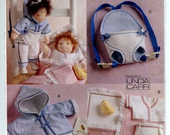 """15"""" Baby Doll Clothes Pattern Doll Carrier Diapers Bunting Jacket Pants Kimono Darling Accessories Linda Carr Vogue 8056 Sewing Pattern"""