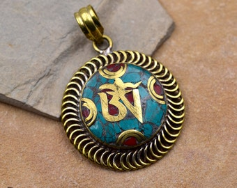 Brass Pendant, 1pc, 34x34x5mm, Ohm Pendant, Turquoise,   Tibetan Pendant -p261