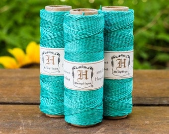 Hemp Cord, 0.5mm, Jewelry Cord, Hemp  Twine,  Cord, Teal Hemp Twine  -TW26