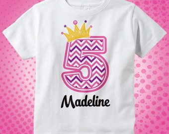 Fifth Birthday Shirt, Pink Chevron 5 Birthday Shirt, Any Age Personalized Girls 5th Birthday Shirt Pink Age and Name Tee for kids 06102014a
