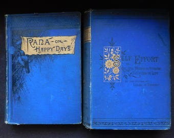 1880s Instant Antique Book Collection - Beautiful Pair of Victorian Dark Blue Cloth Books - Gilt Decorated, Floral Decoration