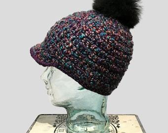 Purple hat with alpaca fur pompom, Mixed Purple Cap with brim and Pompom, girls hat with fur pompom, Wool crochet beanie with Black Pompom