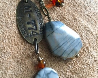 Relic Series  - long dangle necklace, jasper, amber