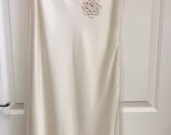 Ivory/Oyster 1920s-30's Slip StyleWedding Dress, with vintage silk rouleau flowers Vintage FlapperThe Great Gatsby, Downton Abbey, Deco