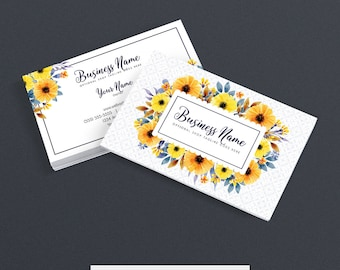 30% OFF SALE Business Card Designs - Etsy Shop Business Cards -  2 Sided Printable Business Card Design - Floral Business Card Design - FAC