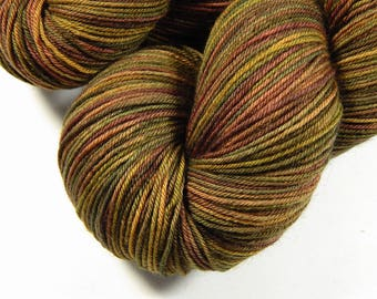 Hand Dyed Sock Yarn - Sock Weight 4 Ply Superwash Merino Wool Yarn - Antique Brass - Knitting Yarn, Fingering Yarn, Bronze Gold Multicolor