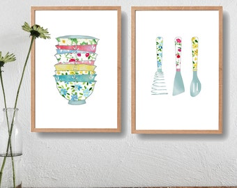Kitchen art prints,2 kitchen prints set, Stack of bowls print, Kitchen utensils print, floral kitchen art, wedding gift, pastel colors