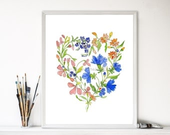 Watercolor painting, Wild flower wreath watercolor, Heart shape floral painting, wild flowers painting, botanical art, Valentine, floral art