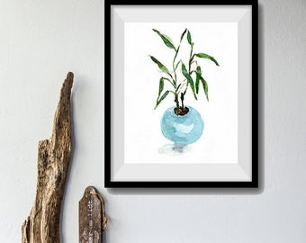 art print Lucky Bamboo, bamboo in planter print, bamboo watercolor print, still life painting, Aquamarine, zen, mothers day, minimalist art