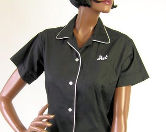 50s 60s Womens Bowling Shirt Vintage Black Cropped Blouse Contrast Trim Medium