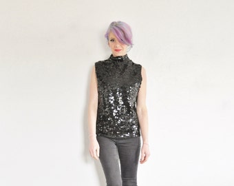 1960 black paillette sequin tank . short collar sleeveless beatnik top .small.medium .sale