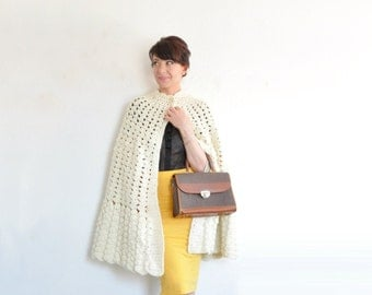 ivory crocheted cape coat . scalloped edge sweater cape .small.medium.large