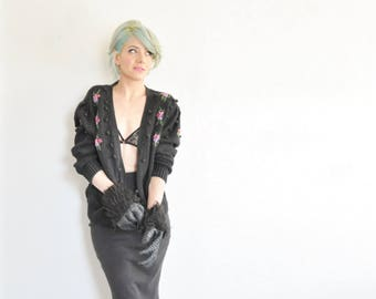 black knit pom pom sweater . tiny flower bouquet button up cardigan .medium.large .sale