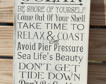 Beach Sign Ocean Wisdom Coastal and Cottage Nautical Decor