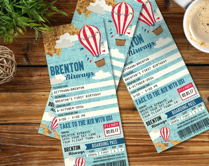 Hot Air Balloon Party TICKET Invitation , Aviator Birthday - Map Hot Air Balloon Invite, 1st Birthday - DIY Instant Download PDF Printable